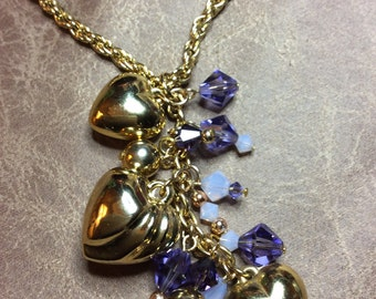 Purple and gold hearts necklace upcycled jewelry swarovski crystals
