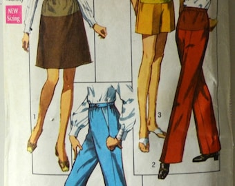 1960s Simplicity Vintage Sewing Pattern 8601, Size 14; Maternity Pants in Two Lengths and Skirt