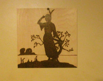 silhouette of a native american woman