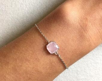 Pink Stone Bracelet ~ Silver/Gold