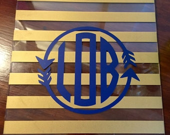 Beautiful Gold and Clear Striped Monogrammed Clipboards