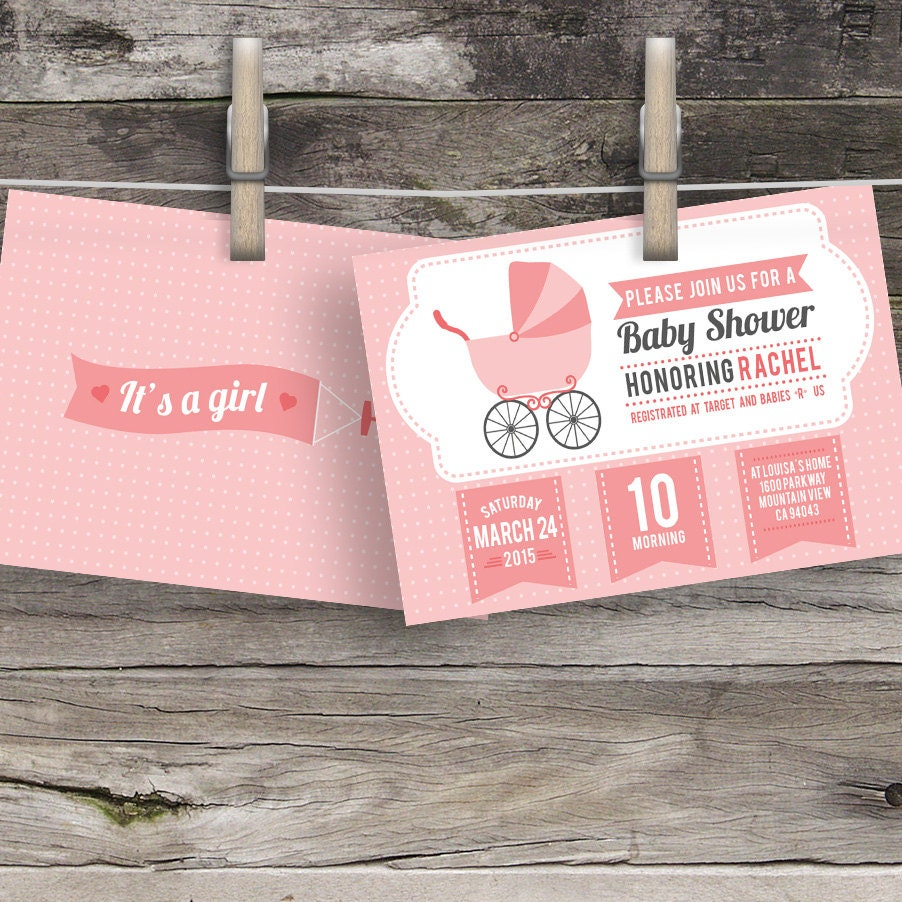 custom baby shower invitations baby girl shower invitation