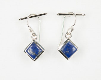 B001-001-001 Handmade Sterling Silver Hoop Earrings Blue Lapis December Birthstone