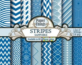 Blu Sapphire striped diagonal Digital Paper, Blue Digital stripes Background - Scrapbook Papers with Printable Blu Sapphire Backdrops