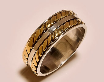 Two Tone Spinning ring, Meditation ring, statement ring, Spinner Ring US-6,7,8,9,10 Jewelry, free express shipping