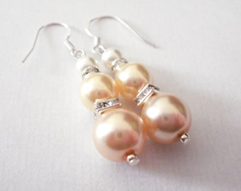 3 drop Pearl Earrings