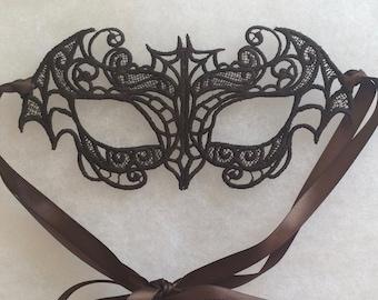 Elegant Lace Bat Mask, Halloween, black mask, lace mask, masquerade mask, Day of the Dead mask