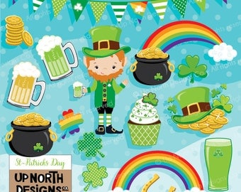 St-Patricks Day Clipart Pot of gold clipart Leprechaun green beer clipart Horse Shoe St-Patricks day  banner Personal and Commercial Use