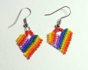 Beaded Rainbow Hearts