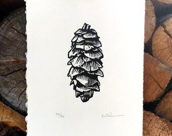 Pinecone Woodcut