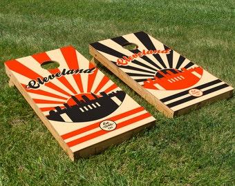 Cleveland Football Cornhole Board Decals (Orange & Black)