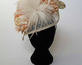 I Rest My Grace - peaches and cream feathered headpiece
