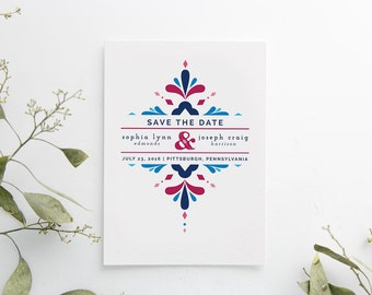 Printed Save the Date Cards, printed set, Mexican wedding, bright and bold, semi-custom