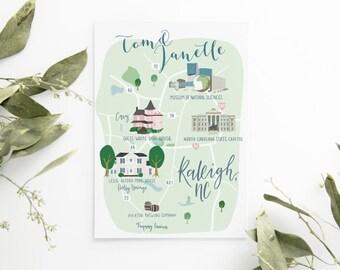 Illustrated Wedding Map - Destination Wedding - Guest Welcome Bag