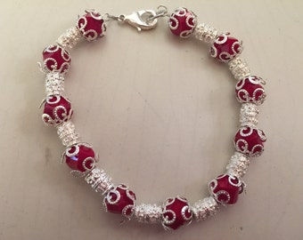 Red and silver lobster clasps fashion bracelet