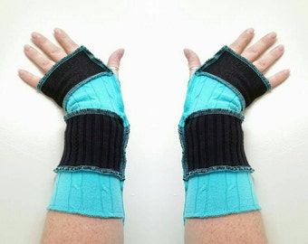 Upcycled repurposed eco friendly arm warmers turquoise black