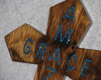 AMAZING GRACE CROSS, decorative cross,  handmade cross, wooden cross, inspirational cross