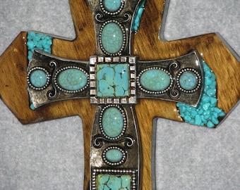decorative cross, INDIAN TURQUOISE CROSS, southwest cross, handmade cross, wooden cross