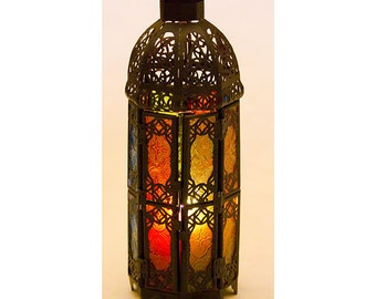 Black Multi-Colour Candle Lantern