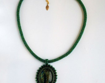 Handmade necklace, Bead Embroidery Necklace, Pendant,  crochet necklace, green necklace