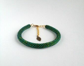 Handmade bead crochet rope bracelet