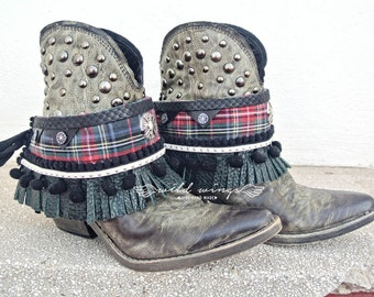 Wild layer boots,punk boot cuffs,Boot fringe,Boot Wrap,rock cover boots,concho cuffs,tartan wrap,Boot Bracelet,Bohemian boots,gypsy boots