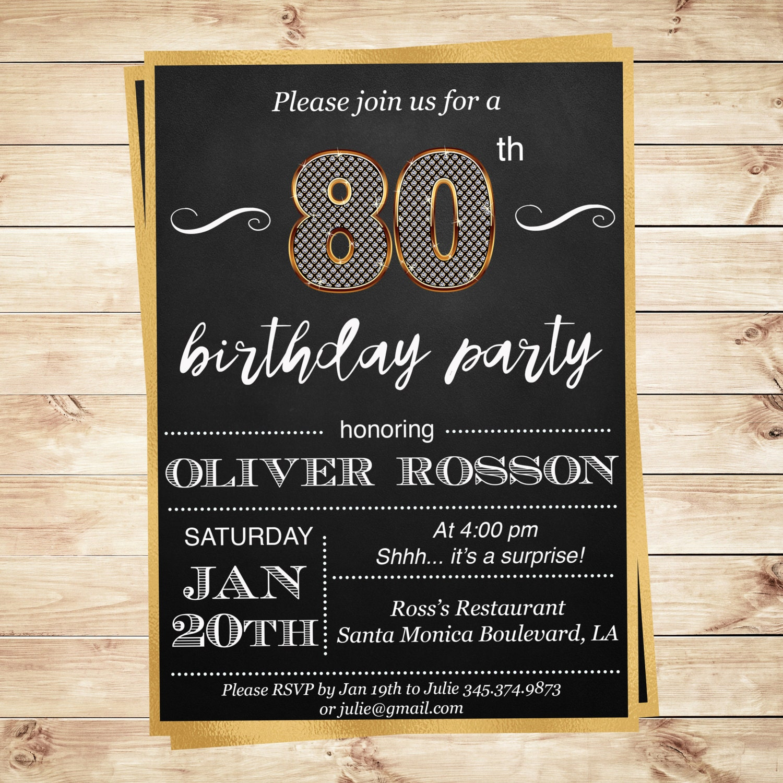 80th Birthday Surprise Party Invitation By DIYPartyInvitation