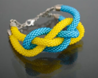 Handmade beaded cord bracelet Yellow and Blue