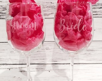 Set of 2 Etched Wine Glasses/Stemless Wine Glasses
