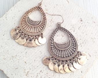 Boho Earring,Gypsy Earring,Tribal Earring,Aztec Earring,Tibetan Earring,Gold Tibetan Earring,Gold Tribal Earring,Boho Dangle Earring