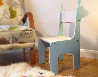 Giraffe Animal Wooden Children's Chair (Age 18m - 8yr). Handmade in UK. Choice of colours.