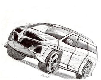 Concept Custom Van Sketch