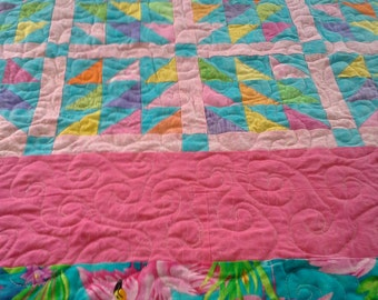 Flamingo Full Bed Quilt,Tropical Quilt