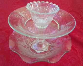 Two Tier Glass Bowls Dessert Stand