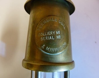 Solid brass vintage miniature Ferndale Coal & Mining lamp