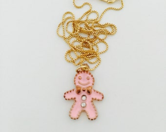 Gingerbread Cookie Necklace, Charm Necklace, Handcrafted  Jewelry, Miniature Food Jewelry,  Alloy Enamel Mini Food Charm, Jewelry Gift