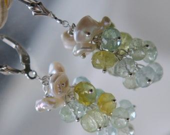Aquamarine Beryl keshi grapes earrings aquamarine Keshi grape earrings