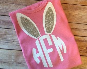 Monogrammed glitter bunny shirt