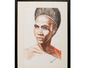 Framed Art. Original, one of a kind water color drawing of an Ethiopian woman.