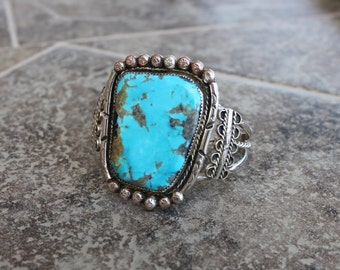 Large Navajo Turquoise Cuff in Sterling Silver