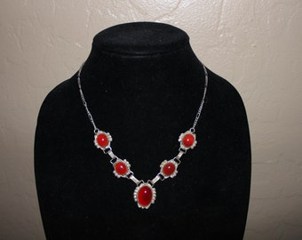 Coral and Steriling Silver Necklace and Earring Set