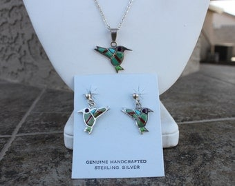 Multi Stone Hummingbird Pendant and Earrings in Sterling Silver