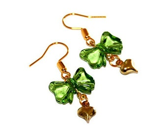 Green Heart and Bow Hook Earrings