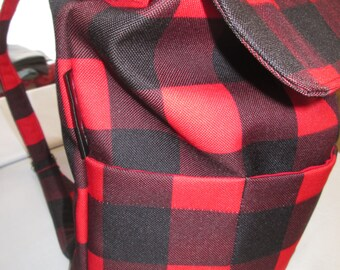 Backpack, tote bag style lumberjack fabrics of recoouvrement and double with pouch