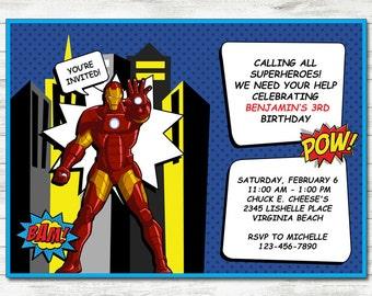 Iron Man Invitation, Iron Man Party, Iron Man Printable Birthday Invitation