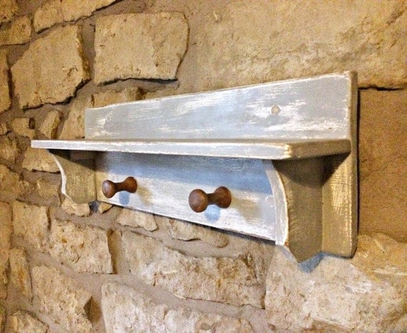 Distressed wooden coat rack wall mounted handcrafted