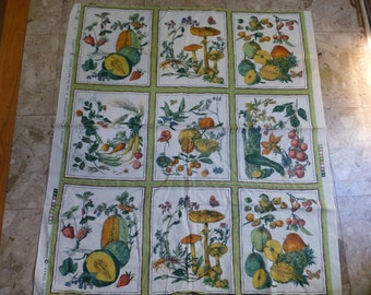 FRUITS AND VEGETABLES 'Harvest' 9 panel retired by cyrus clark 1970's