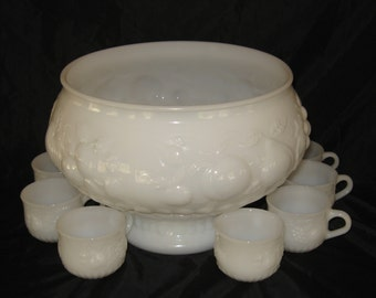 White Milk Glass Punch Bowl Set