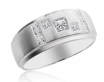 1.00 Carat Princess Cut Diamond Mens Wedding Band 14K White Gold
