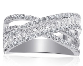 2 Carat Princess & Round Cut Criss Cross Diamond Anivversary Ring 14K White Gold